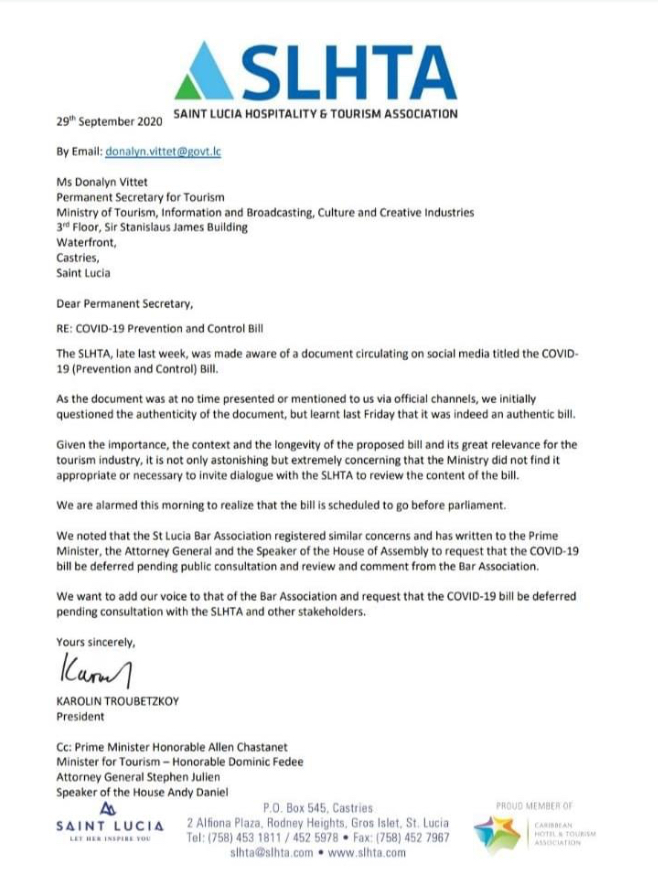Caribbean News Global IMG_5057 St Lucia tourism association request COVID-19 bill deferred